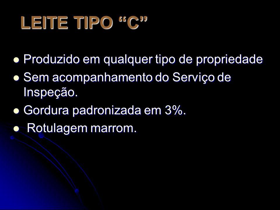 LEITE TIPO C Produzido em qualquer tipo de propriedade