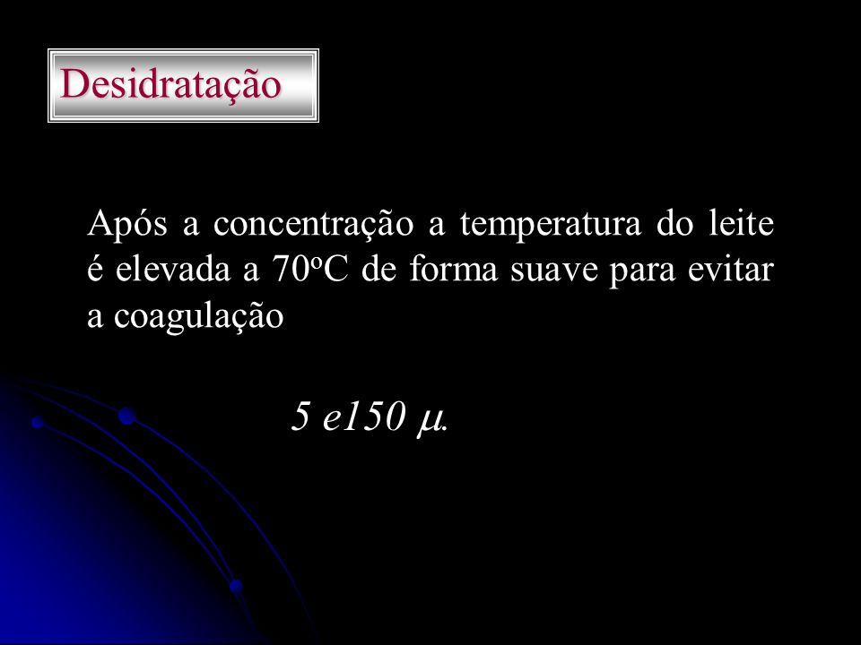 Desidratação Após a concentração a temperatura do leite é elevada a 70oC de forma suave para evitar a coagulação.