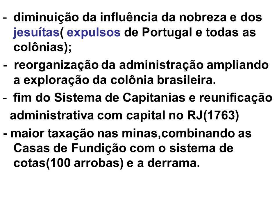 diminuição da influência da nobreza e dos jesuítas( expulsos de Portugal e todas as colônias);