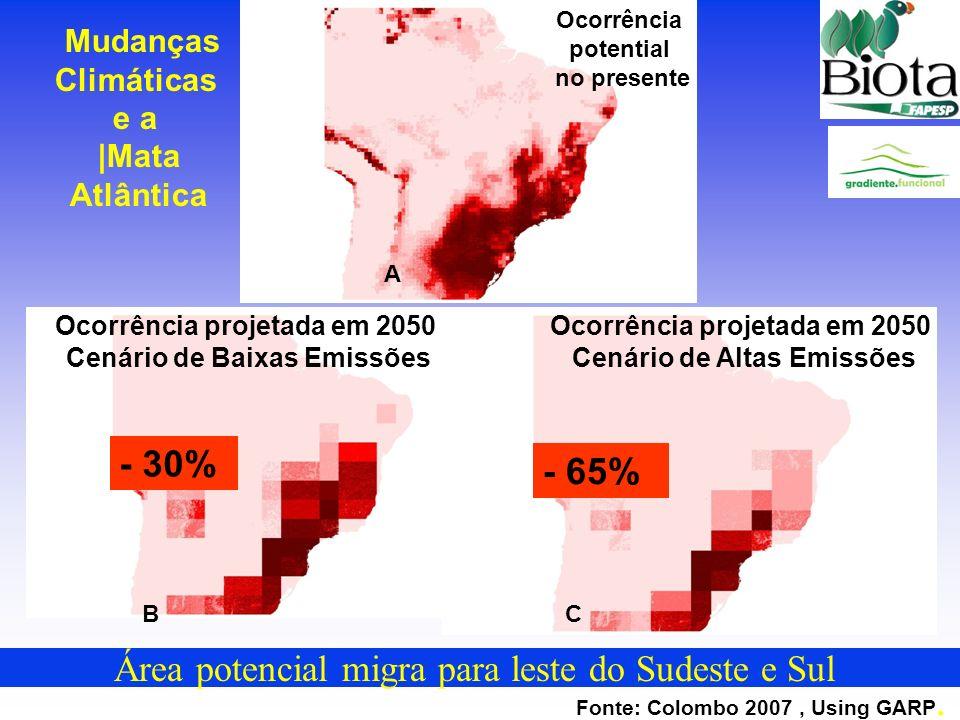 Área potencial migra para leste do Sudeste e Sul