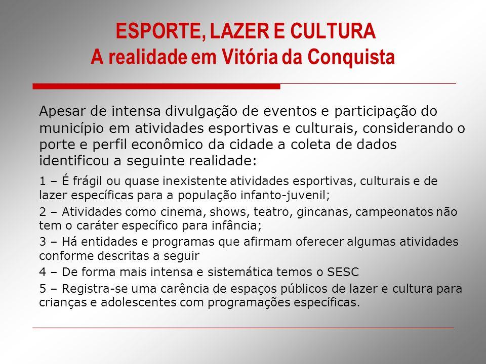 ESPORTE, LAZER E CULTURA A realidade em Vitória da Conquista