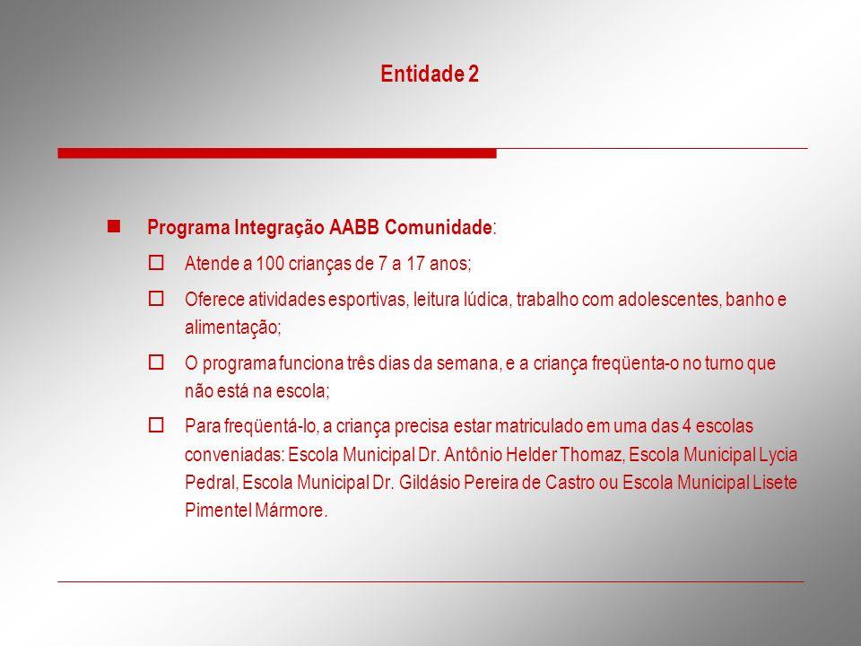 Entidade 2 Programa Integração AABB Comunidade: