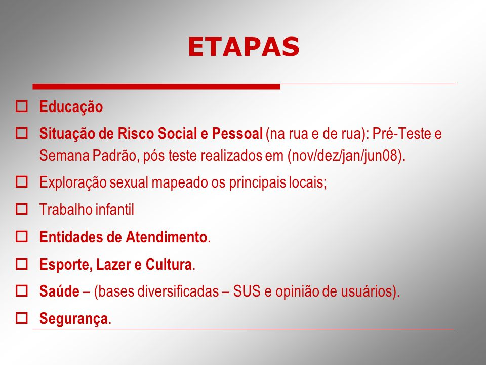 ETAPAS Educação. Situação de Risco Social e Pessoal (na rua e de rua): Pré-Teste e Semana Padrão, pós teste realizados em (nov/dez/jan/jun08).