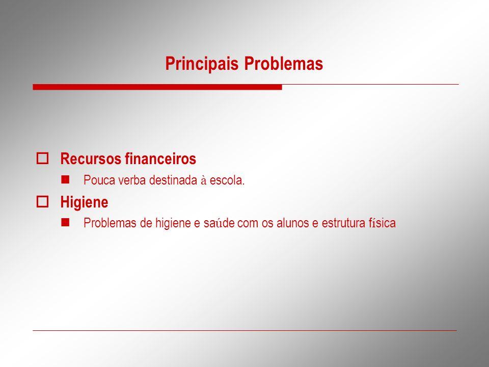 Principais Problemas Recursos financeiros Higiene