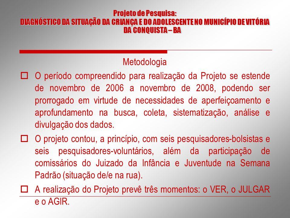 Projeto de Pesquisa: DIAGNÓSTICO DA SITUAÇÃO DA CRIANÇA E DO ADOLESCENTE NO MUNICÍPIO DE VITÓRIA DA CONQUISTA – BA.