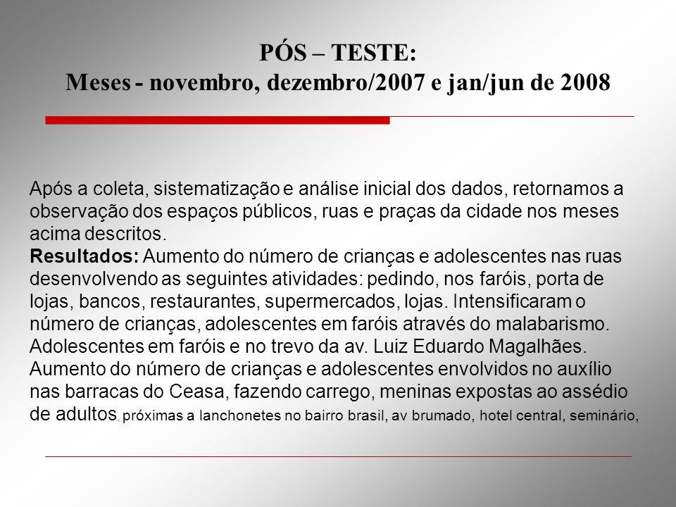Meses - novembro, dezembro/2007 e jan/jun de 2008