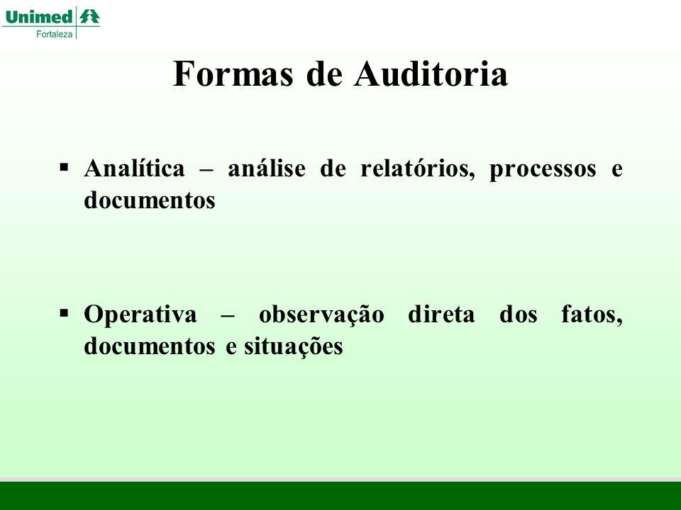 Formas de Auditoria Analítica – análise de relatórios, processos e documentos.
