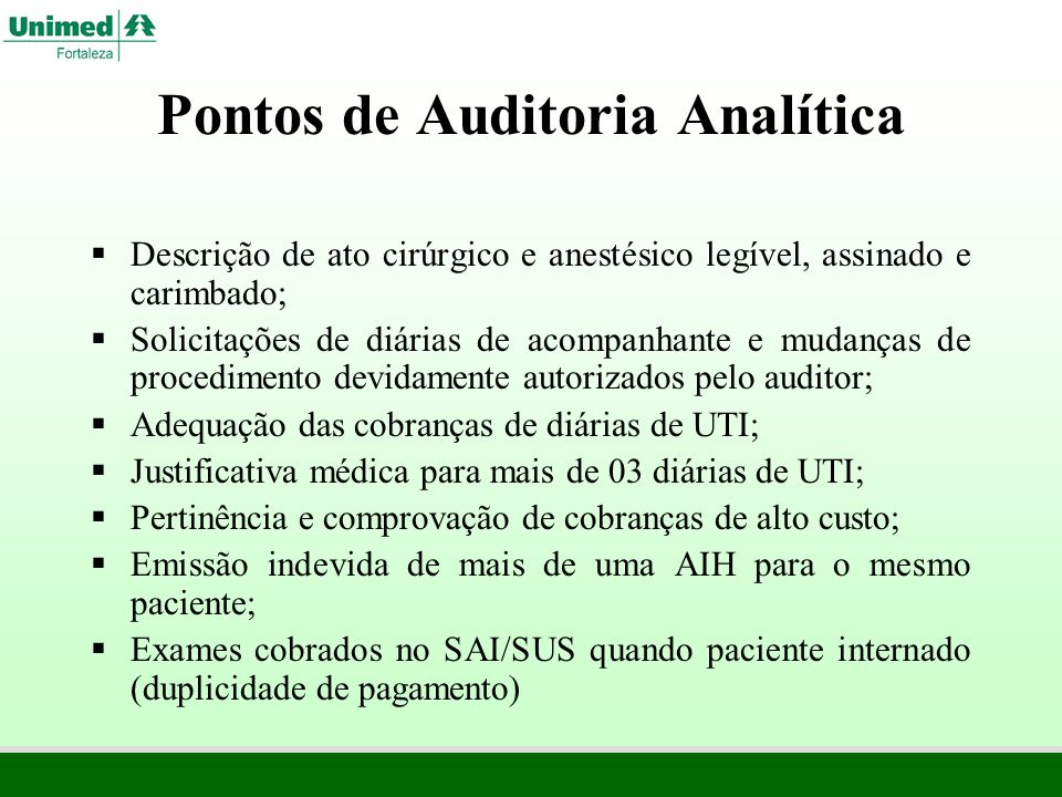 Pontos de Auditoria Analítica