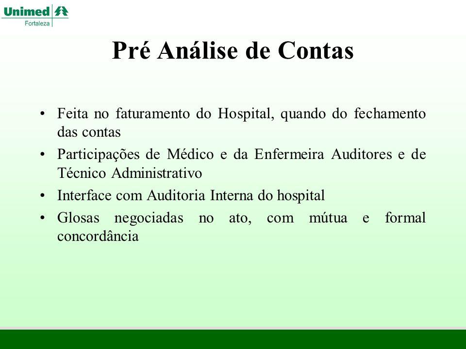 Pré Análise de ContasFeita no faturamento do Hospital, quando do fechamento das contas.