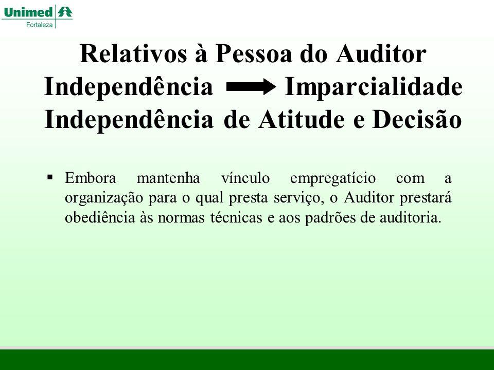 Relativos à Pessoa do Auditor Independência Imparcialidade Independência de Atitude e Decisão