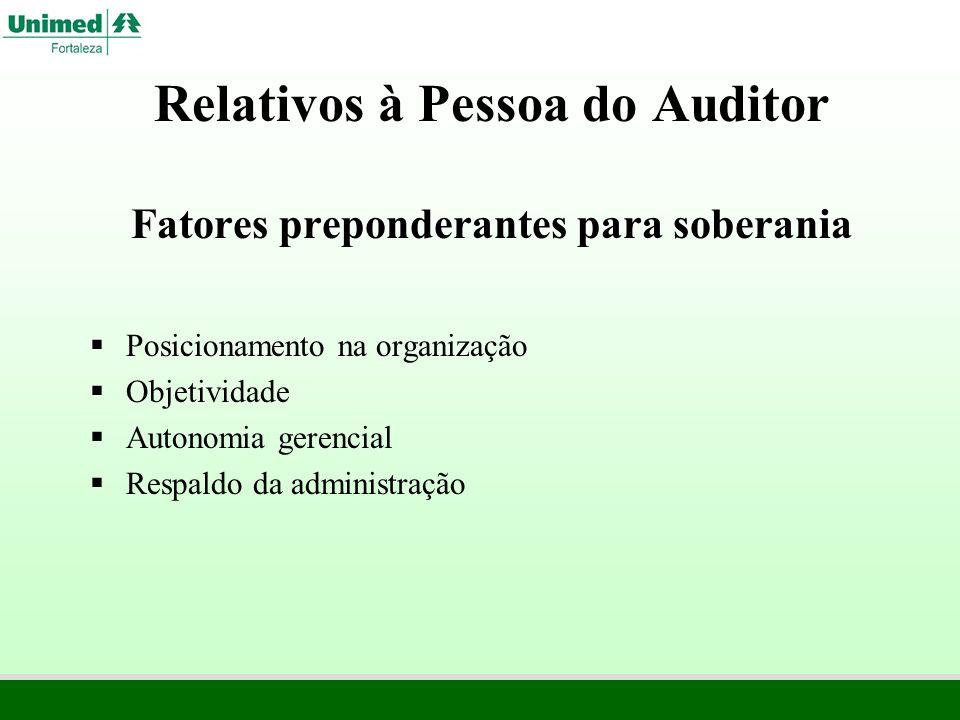 Relativos à Pessoa do Auditor Fatores preponderantes para soberania
