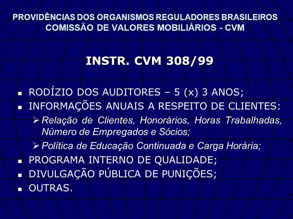 INSTR. CVM 308/99 RODÍZIO DOS AUDITORES – 5 (x) 3 ANOS;