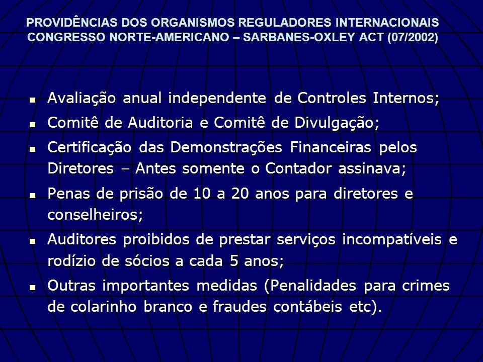 Avaliação anual independente de Controles Internos;