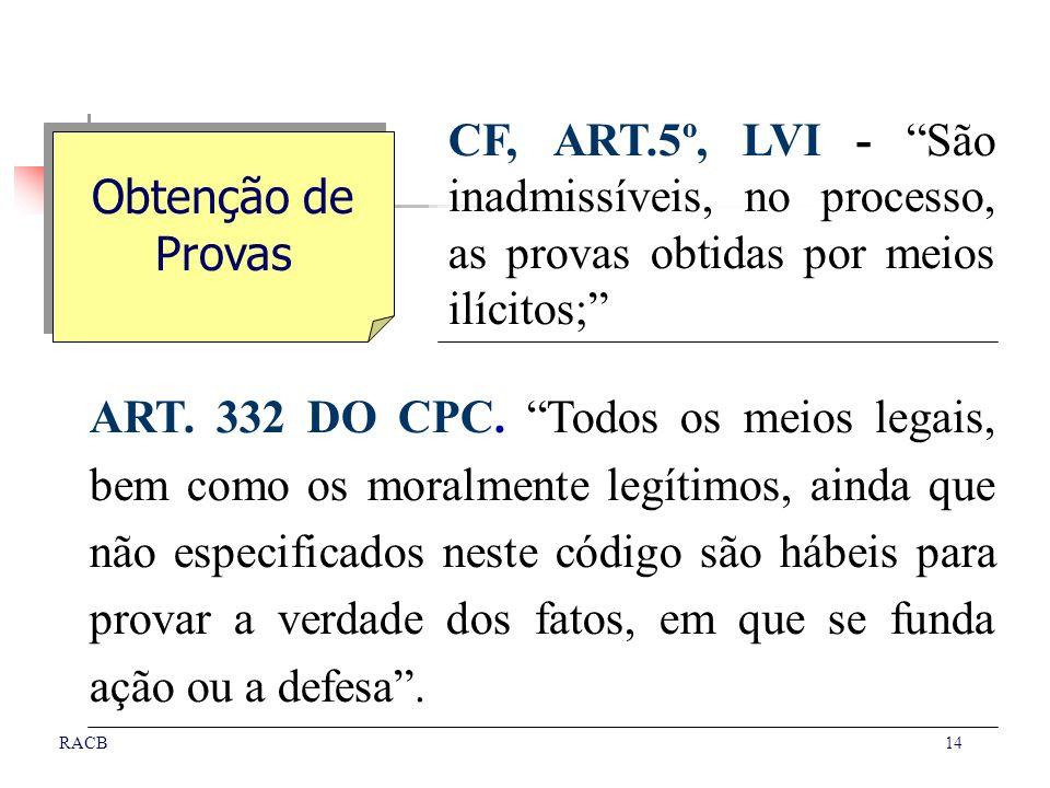 CF, ART.5º, LVI - São inadmissíveis, no processo, as provas obtidas por meios ilícitos;