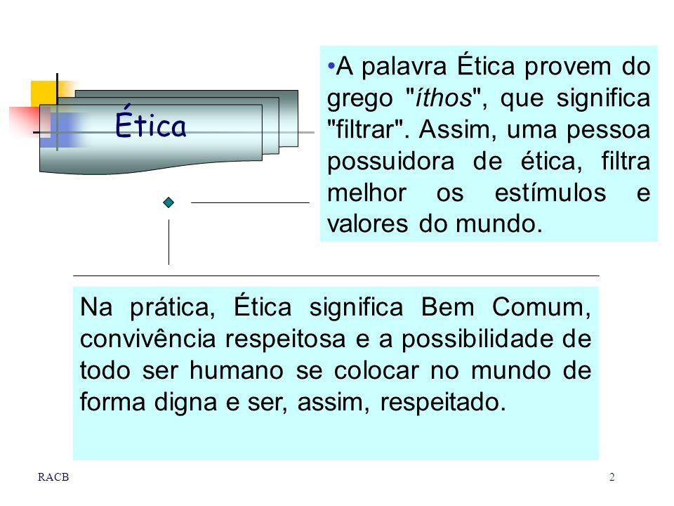 A palavra Ética provem do grego íthos , que significa filtrar