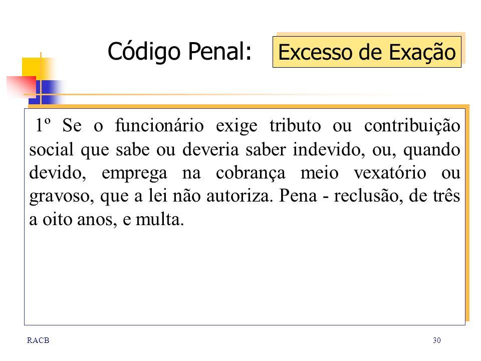Código Penal: Excesso de Exação