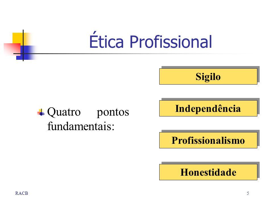 Ética Profissional Quatro pontos fundamentais: Sigilo Independência