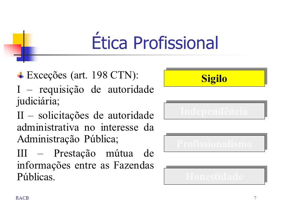 Ética Profissional Exceções (art. 198 CTN): Sigilo