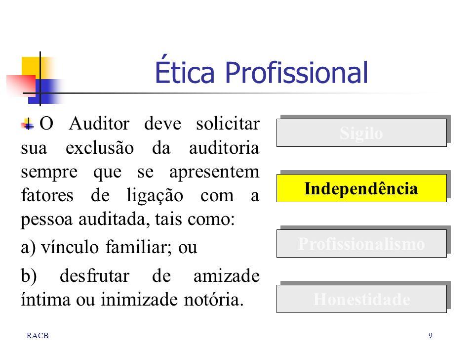 Ética Profissional O Auditor deve solicitar sua exclusão da auditoria sempre que se apresentem fatores de ligação com a pessoa auditada, tais como: