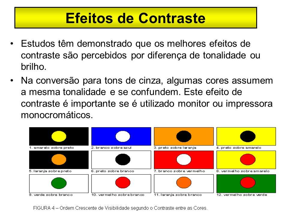 Efeitos de Contraste Estudos têm demonstrado que os melhores efeitos de contraste são percebidos por diferença de tonalidade ou brilho.
