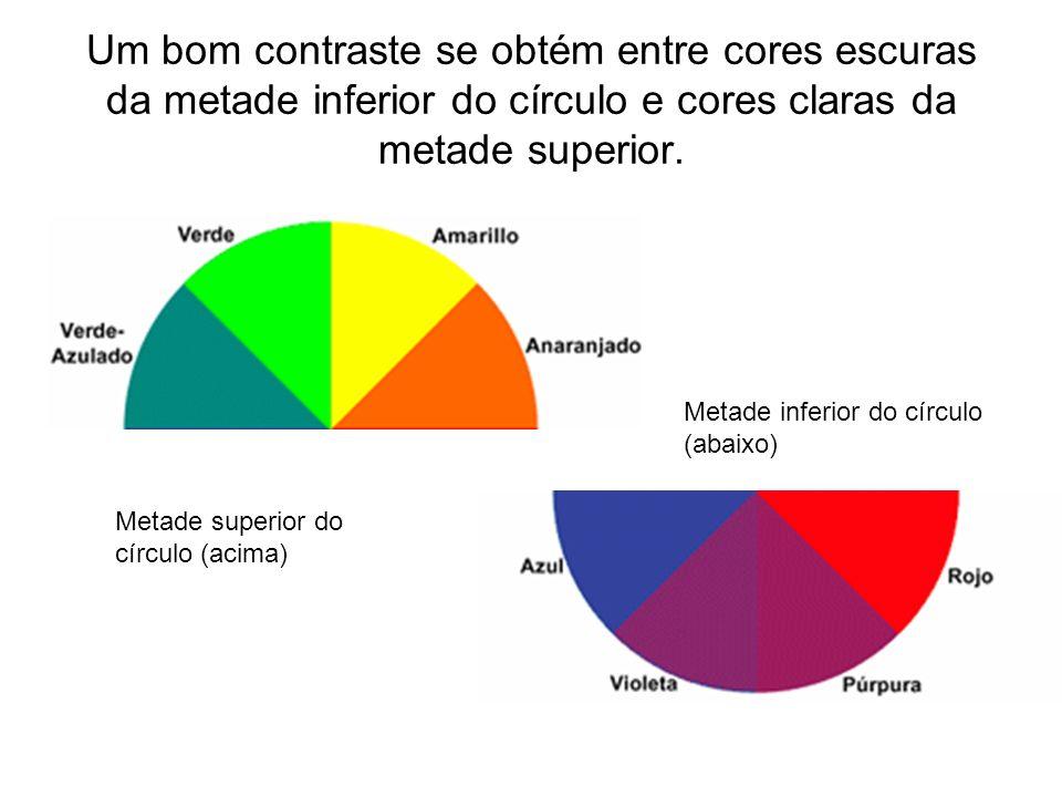 Um bom contraste se obtém entre cores escuras da metade inferior do círculo e cores claras da metade superior.