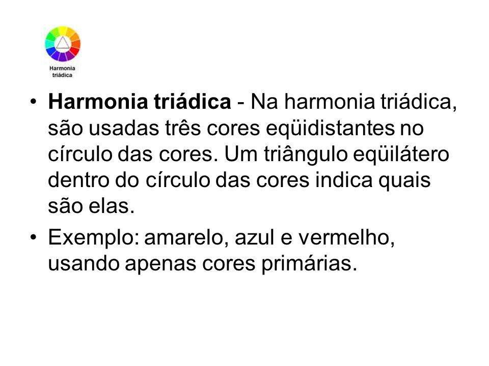 Harmonia triádica - Na harmonia triádica, são usadas três cores eqüidistantes no círculo das cores. Um triângulo eqüilátero dentro do círculo das cores indica quais são elas.