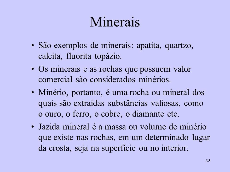 Minerais São exemplos de minerais: apatita, quartzo, calcita, fluorita topázio.