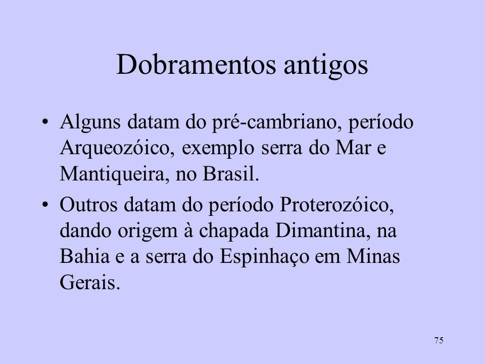 Dobramentos antigos Alguns datam do pré-cambriano, período Arqueozóico, exemplo serra do Mar e Mantiqueira, no Brasil.