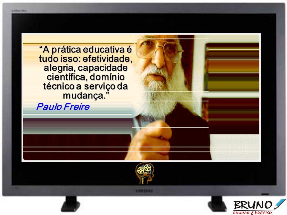 A prática educativa é tudo isso: efetividade, alegria, capacidade científica, domínio técnico a serviço da mudança.