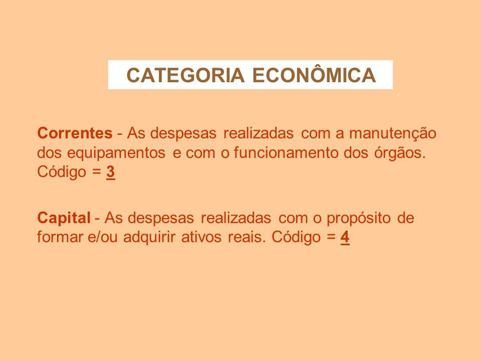CATEGORIA ECONÔMICACorrentes - As despesas realizadas com a manutenção dos equipamentos e com o funcionamento dos órgãos. Código = 3.