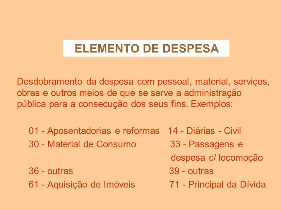 ELEMENTO DE DESPESA
