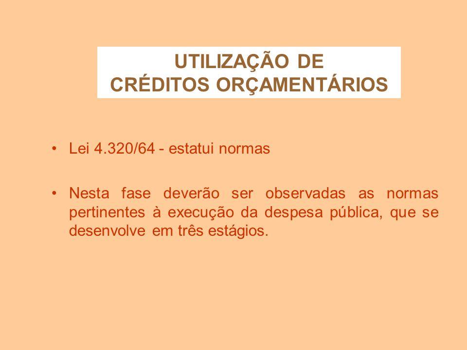 UTILIZAÇÃO DE CRÉDITOS ORÇAMENTÁRIOS