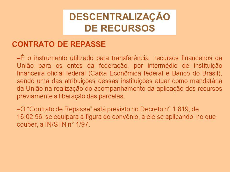 DESCENTRALIZAÇÃO DE RECURSOS