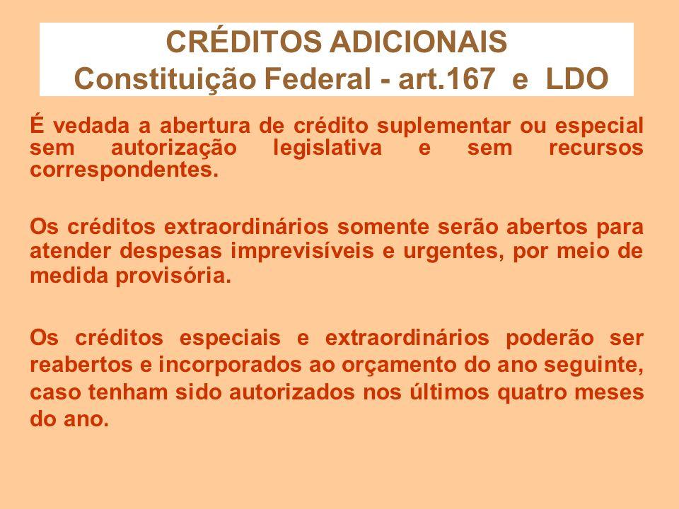 CRÉDITOS ADICIONAIS Constituição Federal - art.167 e LDO