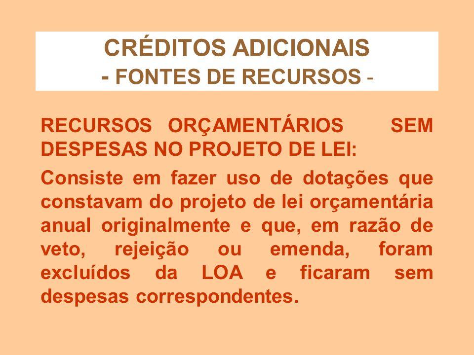 CRÉDITOS ADICIONAIS - FONTES DE RECURSOS -