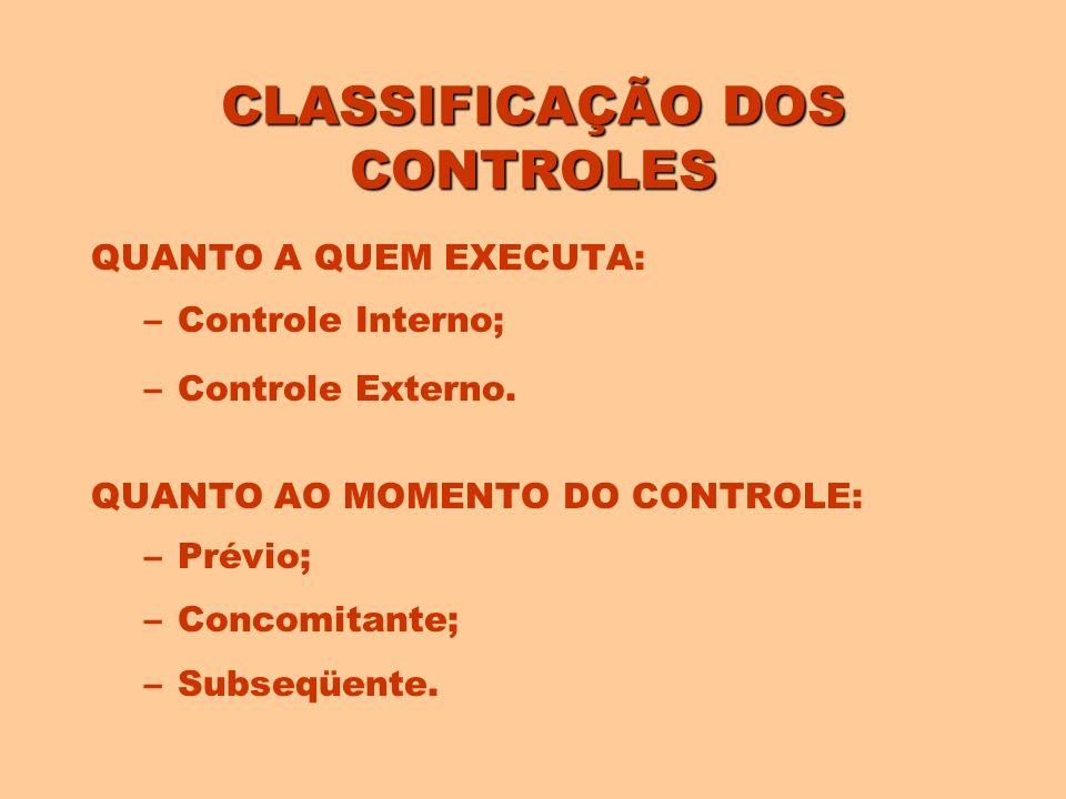 CLASSIFICAÇÃO DOS CONTROLES