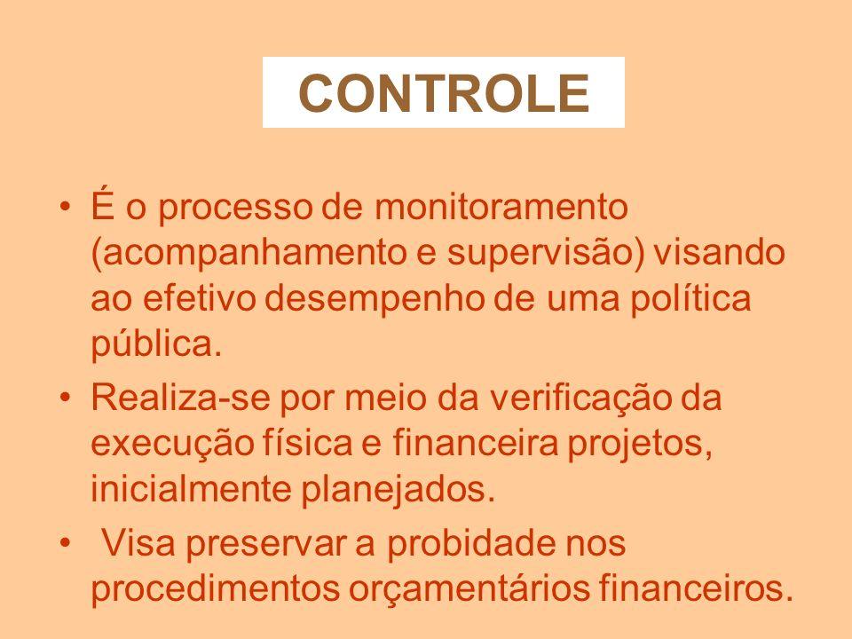 CONTROLEÉ o processo de monitoramento (acompanhamento e supervisão) visando ao efetivo desempenho de uma política pública.