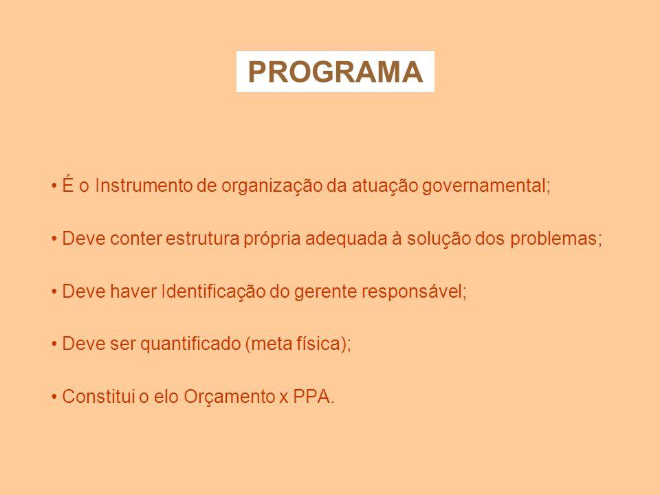PROGRAMA É o Instrumento de organização da atuação governamental;