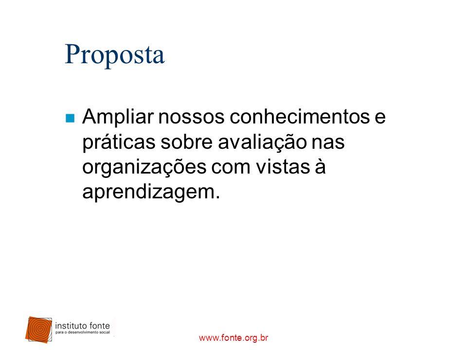 Proposta Ampliar nossos conhecimentos e práticas sobre avaliação nas organizações com vistas à aprendizagem.