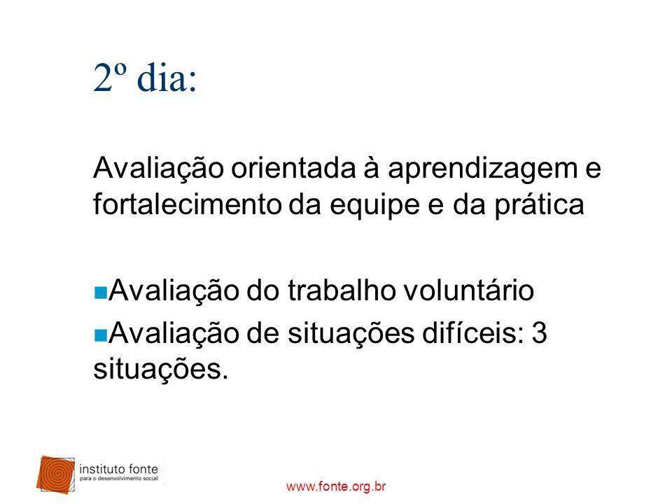 2º dia: Avaliação orientada à aprendizagem e fortalecimento da equipe e da prática. Avaliação do trabalho voluntário.