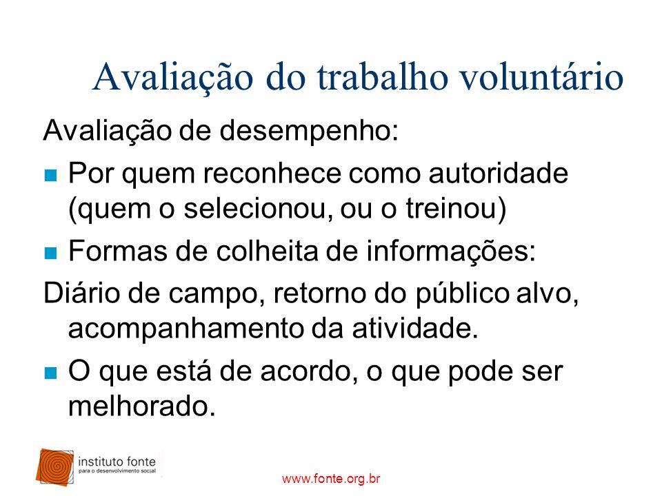 Avaliação do trabalho voluntário