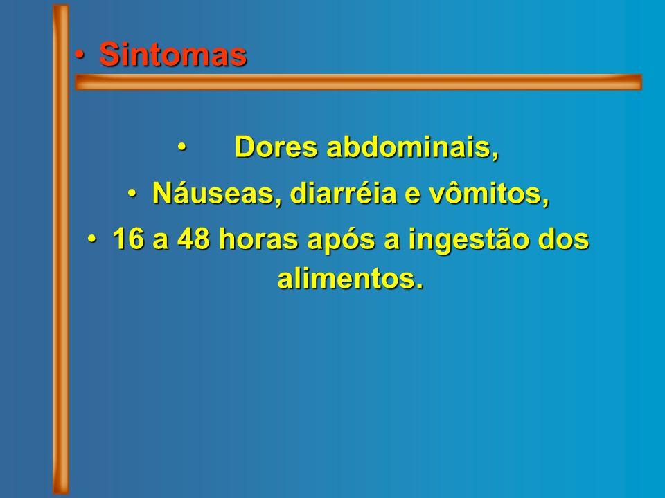 Sintomas Dores abdominais, Náuseas, diarréia e vômitos,