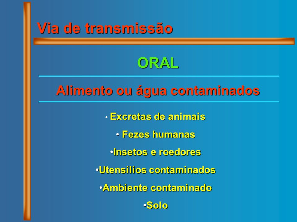Alimento ou água contaminados Utensílios contaminados