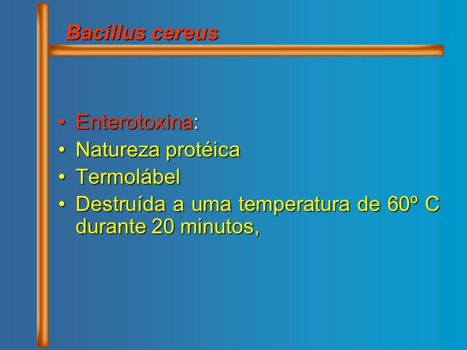 Bacillus cereus Enterotoxina: Natureza protéica. Termolábel.