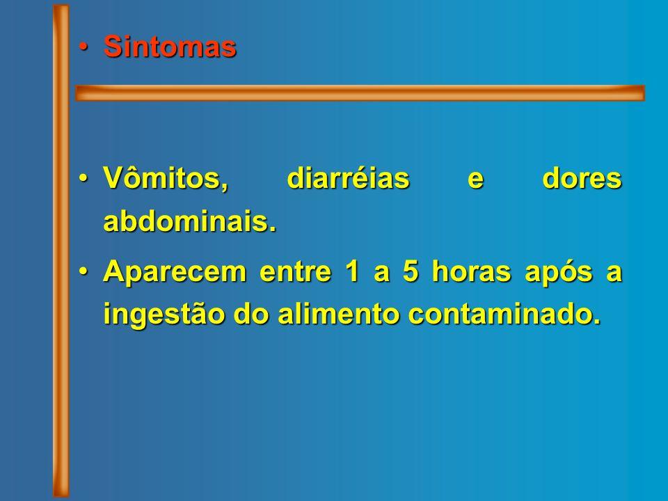 Sintomas Vômitos, diarréias e dores abdominais.