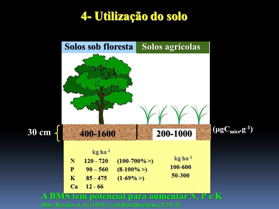 4- Utilização do solo Solos sob floresta Solos agrícolas 30 cm