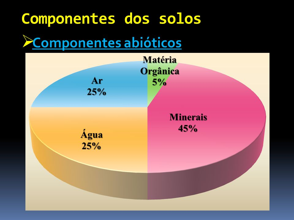 Componentes dos solos Componentes abióticos