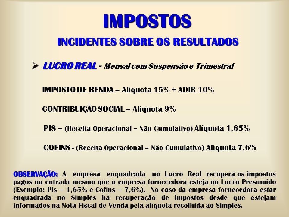 INCIDENTES SOBRE OS RESULTADOS