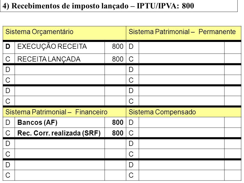 4) Recebimentos de imposto lançado – IPTU/IPVA: 800