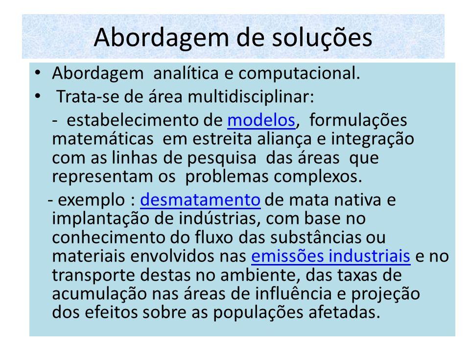 Abordagem de soluções Abordagem analítica e computacional.